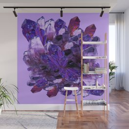 FEBRUARY PURPLE AMETHYST CRYSTAL CLUSTER GEMS Wall Mural