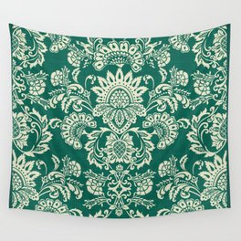Damask vintage in green Wall Tapestry
