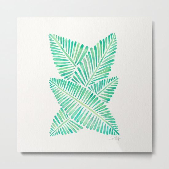 Tropical Banana Leaves – Mint Palette Metal Print