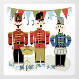 Holiday Wooden Toy Soldiers Singing Christmas Carols Pa Rum Pum Pum Pum Art Print