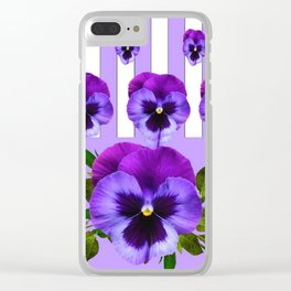 MODERN LILAC & PURPLE PANSY FLOWERS ART Clear iPhone Case