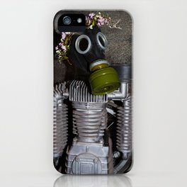 Household robot with gasmask iPhone Case