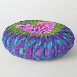 Floral Heart with Cannabis Leaves Floor Pillow