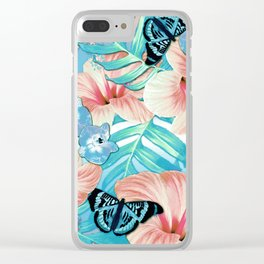 Tropical Spring Aqua Clear iPhone Case