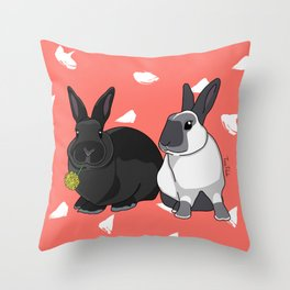 Elly and Bobby in Pantone Living Coral Throw Pillow