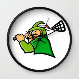 Archer Lacrosse Sport Mascot Wall Clock
