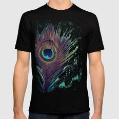 Peacock Feather 2X-LARGE Black Mens Fitted Tee