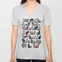 Cats Shapes Marble - Olive Green Unisex V-Neck