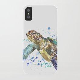 Sea Turtle Pura Vida Watercolor iPhone Case