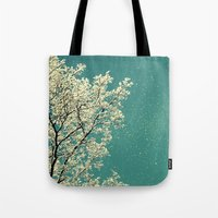 snow Tote Bags featuring snow by Claudia Drossert