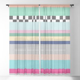 Stripes Mixed Print and Pattern with Color blocking Sheer Curtain