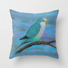 Cuddly blue quaker parrot Throw Pillow