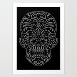Intricate Gray and Black Day of the Dead Sugar Skull Art Print