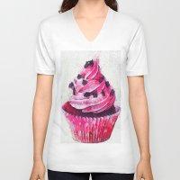 cupcake V-neck T-shirts featuring Cupcake by A.Aenska-Cholpanova