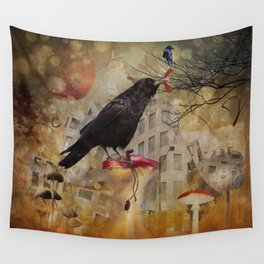Raven in a City Wall Tapestry