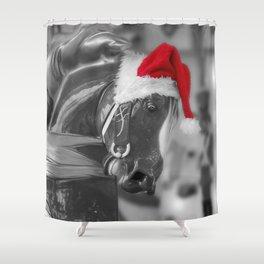 Santa Horse 6 BW Shower Curtain