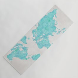 Turquoise and distressed grey world map with outlined countries Yoga Mat