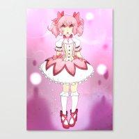 madoka magica Canvas Prints featuring Madoka by lazylogic