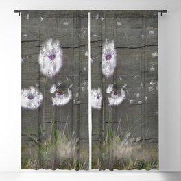 Rustic Barn Wood Series: Dandelion Seeds Fly Away Blackout Curtain