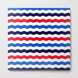 White, red, dark and bright blue ocean waves Metal Print