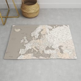 """Light brown map of Europe with cities """"Light earth tones"""" Rug"""