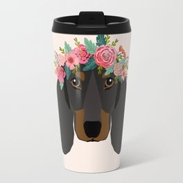 Dachshund floral crown dog breed pet art dachshunds doxie pupper gifts Travel Mug
