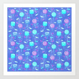 Lollipop And Candy Bright Blue Confection Art Print