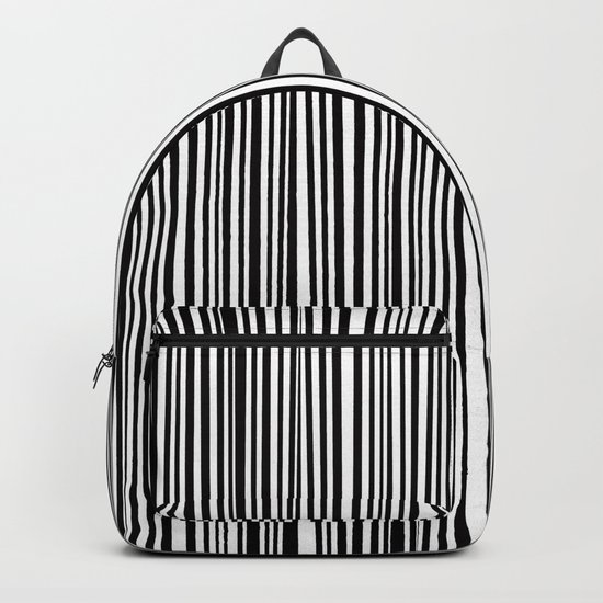 Simply small black and white handrawn stripes-vertical-Mix&Match with Simplicty of life Backpack
