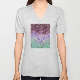 butterflies dance in purple skies above irises Unisex V-Neck