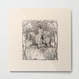 A LADY RIDING A HORSE Metal Print