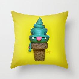 Happy ice cream cone Throw Pillow