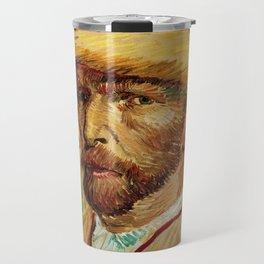 Van Gogh, Self-Portrait with Straw Hat, – Van Gogh,Vincent Van Gogh,impressionist,post-impressionism Travel Mug