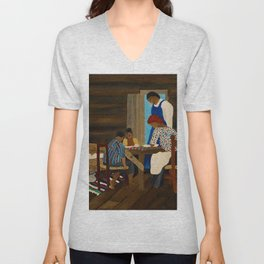 African American Masterpiece 'Giving Thanks' by Horace Pippin Unisex V-Neck