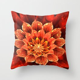 Red Dahlia Fractal Flower with Beautiful Bokeh (Vivid Crimson) Throw Pillow