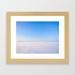 Snowy Lake Ice and Blue Sky Framed Art Print