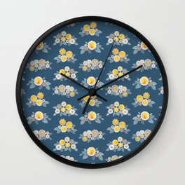 indigo flowerbunches on blue background Wall Clock