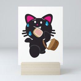 One Tooth Black Cat Late at School Toast Mini Art Print