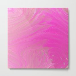 Bright Pink Acrylic Pour Metal Print