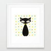mid century Framed Art Prints featuring Mid Century Cat  by Laura Ruth