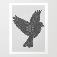 sparrow Art Prints featuring Sparrow by Cjillustrations