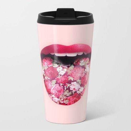 FLORAL KISS Metal Travel Mug