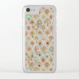 PEACOCK MERMAID Rose Gold Mint Scales and Feathers Clear iPhone Case
