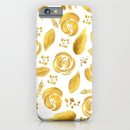 Hand painted faux gold white elegant floral pattern iPhone Case