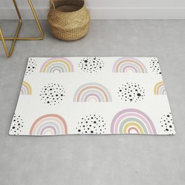 Baby rainbow with black dots seamless repeat trendy pattern pastel colored for fabric design Rug