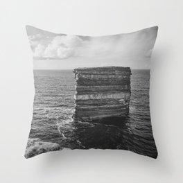 Dun Briste II Black and White Throw Pillow