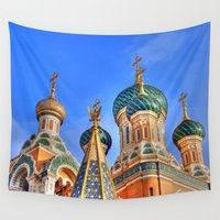 russia Wall Tapestries featuring Basilica in Russia  by Limitless Design