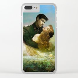 Love me tender - Sad couple in loving embrase in the lake Clear iPhone Case