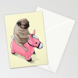 Pug and Pink Horse Stationery Cards
