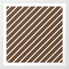 Diagonal Lines (White/Coffee) Art Print