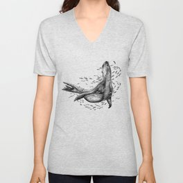 Seal and Fish Unisex V-Neck